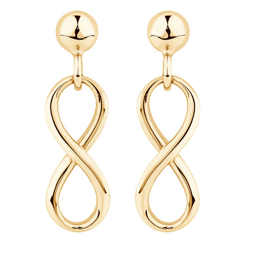 Infinity Drop Earrings in 10kt Yellow Gold