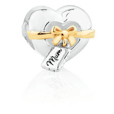 Mum' Heart with Gift Tag Charm in Sterling Silver & 10ct Yellow Gold