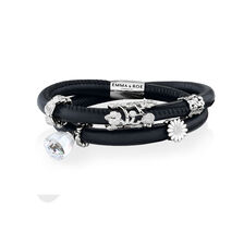 Wild Hearts Ready To Wear Bracelet with Glass & Cubic Zirconia in Leather, Sterling Silver & Stainless Steel