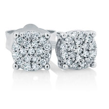 Cluster Stud Earrings with 1/10 Carat TW of Diamonds in Sterling Silver