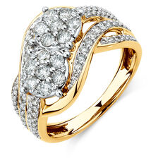 By My Side Cluster Ring with 1 Carat TW of Diamonds in 10ct Yellow Gold