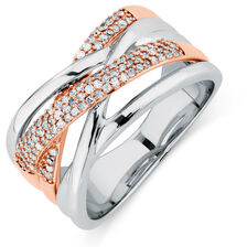 Ring with 1/4 Carat of Diamonds in 10ct White & Rose Gold