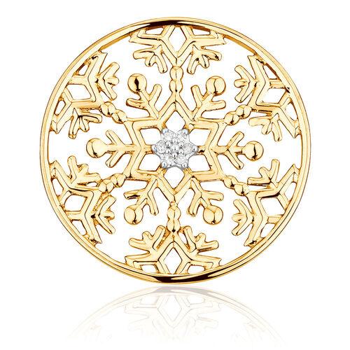 Diamond Set Snowflake Coin Pendant Insert in 10ct Yellow Gold