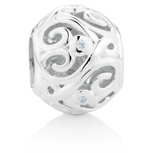 Diamond Set Sterling Silver Heart Pattern Charm
