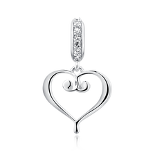 Heart Dangle Charm with Cubic Zirconia in Sterling Silver