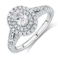 Michael Hill Designer Arpeggio Engagement Ring with 1 1/2 Carat TW of Diamonds in 14ct White Gold