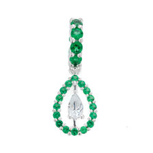 Dangle Charm with Green & White Cubic Zirconia in Sterling Silver