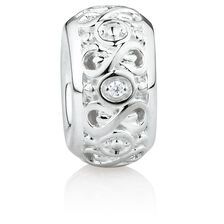 Infinity Slider with Cubic Zirconia in Sterling Silver