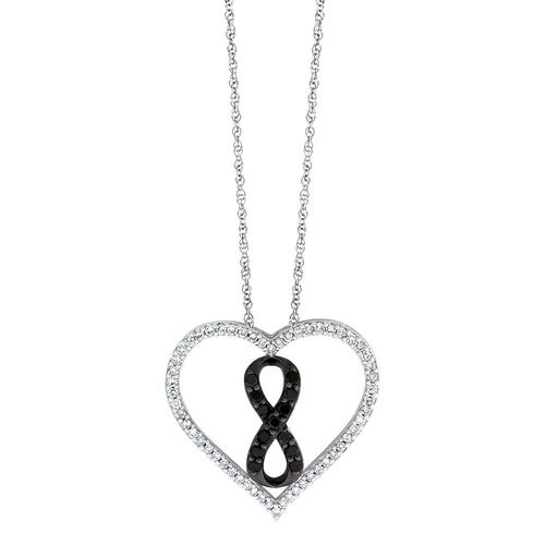 Inifinitas Pendant with 1/3 Carat TW of Enhanced Black Diamonds in Sterling Silver