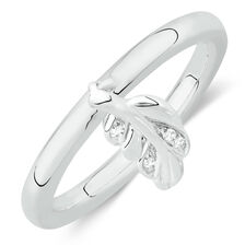 Leaf Stacker Ring with Cubic Zirconia in Sterling Silver