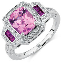 Ring with Created Pink Sapphire & Diamonds in Sterling Silver