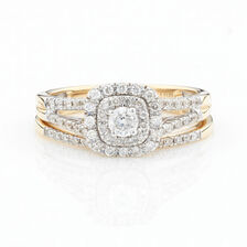 Online Exclusive - Halo Ring with 1/2 Carat Total Weight of Diamonds in 10ct Yellow Gold