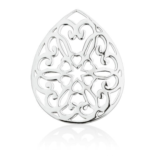 Heart Patterned Coin Pendant Insert in Sterling Silver