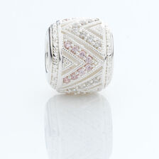 Charm with Pink & White Cubic Zirconia in Sterling Silver