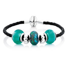 Green Glass & Black Leather Starter Charm Bracelet