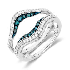 Engagement Ring with 1/2 Carat TW of White & Enhanced Blue Diamonds in 14kt White Gold