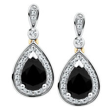 Drop Earrings with Sapphire & 0.19 Carat TW of Diamonds in 10ct Yellow & White Gold
