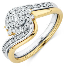 Bridal Set with 1/3 Carat TW of Diamonds in 10kt Yellow & White Gold