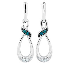 Online Exclusive - City Lights Drop Earrings with White & Enhanced Blue Diamonds in Sterling Silver