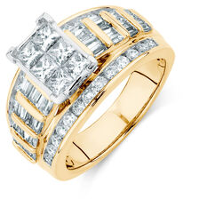 Engagement Ring with 2 Carat TW of Diamonds in 14kt Yellow & White Gold