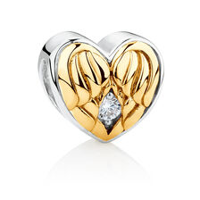 Angel Wings 'Mom' Charm with Cubic Zirconia in 10kt Yellow Gold & Sterling Silver