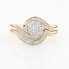 ONLINE EXCLUSIVE - Cluster Bridal Set with 0.30 Carat Total Weight of Diamonds in 10ct Yellow & White Gold
