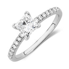 Evermore Colourless Engagement Ring with 1.12 Carat TW of Diamonds in 14kt White Gold