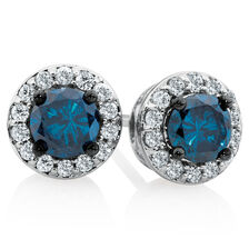 Stud Earrings with 0.95 Carat TW of White & Enhanced Blue Diamonds in 10ct White Gold