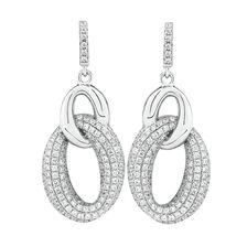 Loop Link Drop Earrings with Cubic Zirconia in Sterling Silver