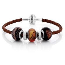 "Online Exclusive - Brown Leather, Glass & Sterling Silver 19cm (7.5"") Charm Bracelet"