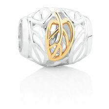 Leaf Pattern Charm with White Enamel in Sterling Silver & 10ct Yellow Gold