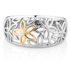Flower Ring in 10kt Yellow Gold & Sterling Silver