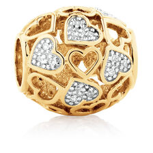 Diamond Set Filigree Heart Charm in 10ct Yellow Gold