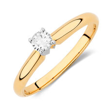 Solitaire Engagement Ring with a 1/5 Carat Diamond in 14kt Yellow & White Gold
