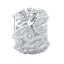 Barrel Charm with Cubic Zirconia in Sterling Silver