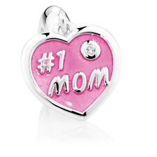 "Sterling Silver & Pink Enamel ""#1 Mom"" Heart Dangle Charm"