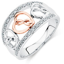 Infinitas Ring with Diamonds in 10kt Rose Gold & Sterling Silver