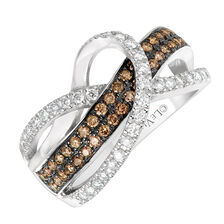 Le Vian Ring with 3/4 Carat TW of Chocolate & Vanilla Diamonds in 14kt White Gold