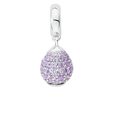 Purple Cubic Zirconia & Sterling Silver Wild Hearts Dangle Charm