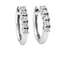 Hoop Earrings with Diamonds in Sterling Silver