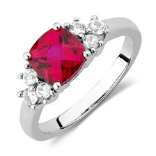 Ring with Created Ruby & Created white Sapphires in Sterling Silver