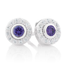 Purple Cubic Zirconia & Sterling Silver Stud Earrings with Circle Enhancers