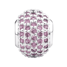 Pink Cubic Zirconia & Sterling Silver Pave Charm