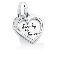 Family is Forever' Heart Dangle Charm with Cubic Zirconia in Sterling Silver