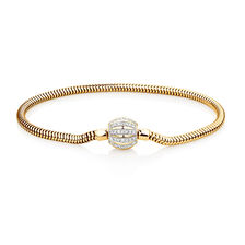 "19cm (7.5"") Charm Bracelet with 0.53 Carat TW of Diamonds in 10ct Yellow Gold"
