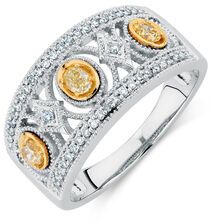 Ring with 0.30 Carat TW of White & Natural Yellow Diamonds in 10kt Yellow & White Gold