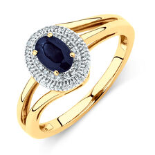 Ring with Blue Sapphire & Diamonds in 10kt Yellow Gold
