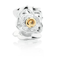 Wild Hearts Rose Charm in Sterling Silver & 10ct Yellow Gold