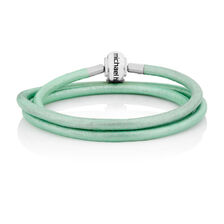 "Mint Triple Wrap Leather 57cm (22"") Charm Bracelet"