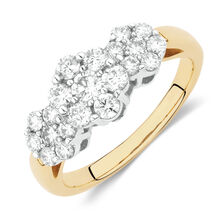 Cluster Ring with 1 Carat TW of Diamonds in 18ct Yellow and White Gold